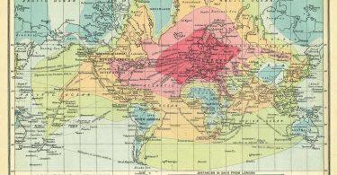 ancienne carte monde trajets distances