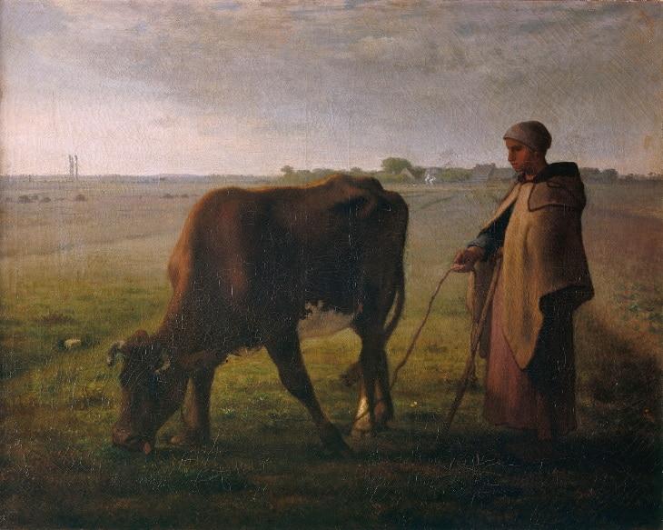 Millet tableau femme vache