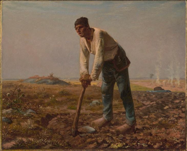 homme houe peinture millet