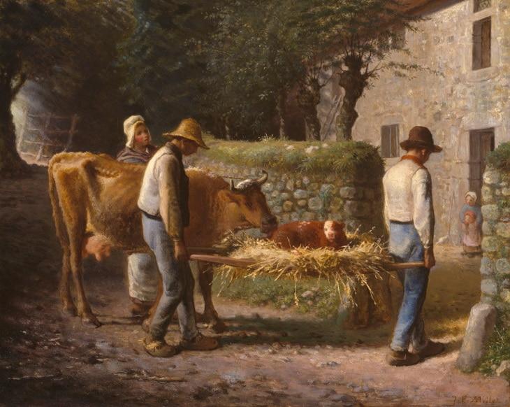 Millet peintre veau paysans