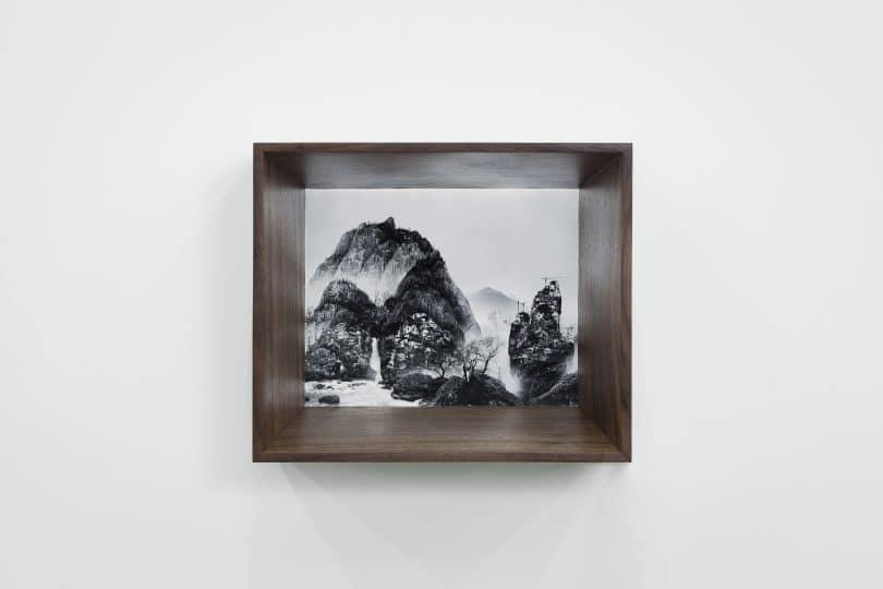 photo dans une cadre en bois