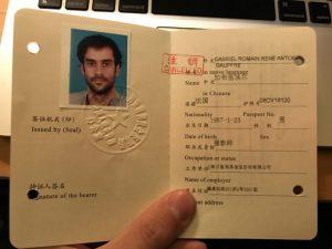 Livret travail Chine expatrié