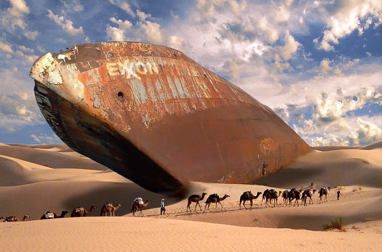 pétrolier, désert, caravane de dromadaires