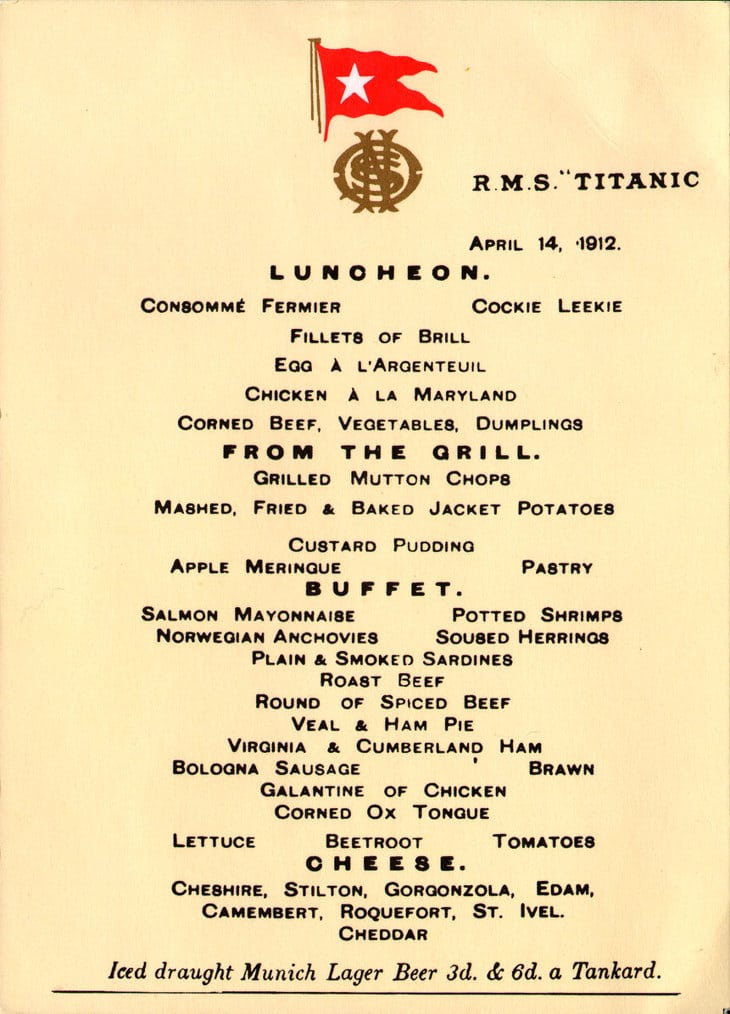 menu titanic vocabulaire culinaire