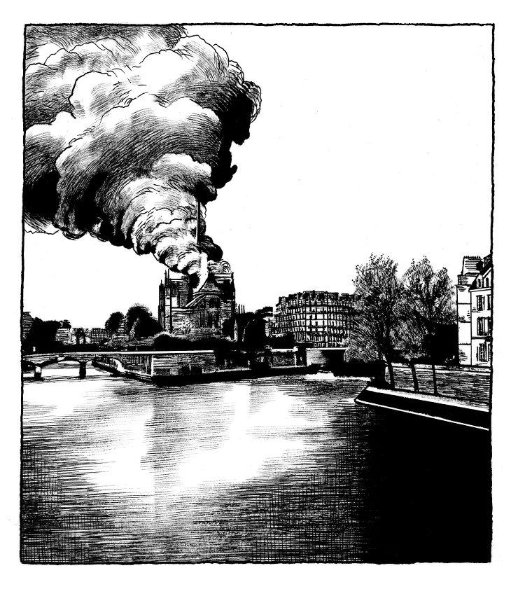 Notre-Dame Incendie Dessin Pajak