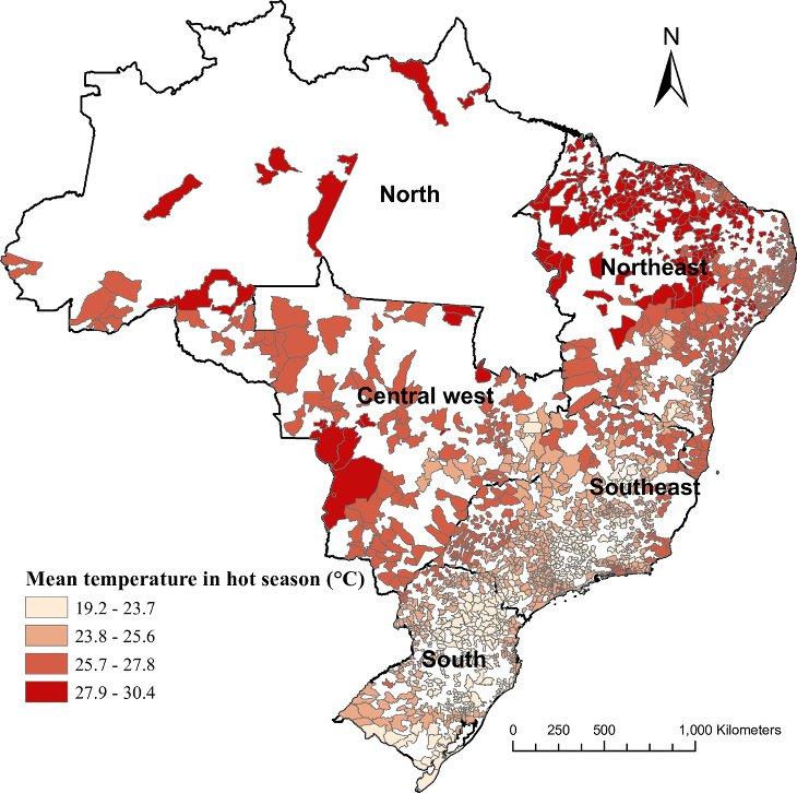 Réchauffement dénutrition carte Brésil