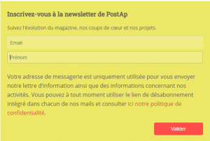 Inscription Newsletter Jaune